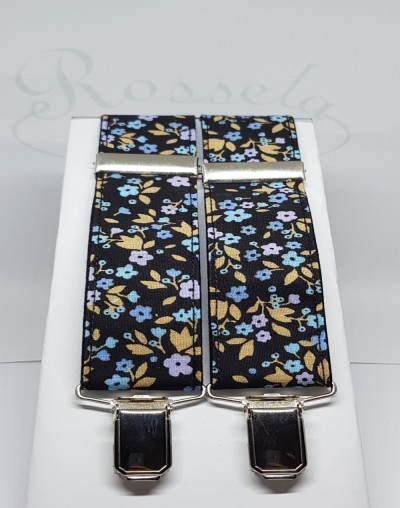 Tirantes negros flores azules y tostadas
