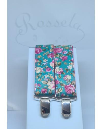 Tirantes azul marino con flores azules y tostadas