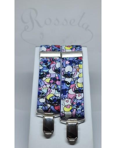 Conjunto pajarita y tirantes flores azul