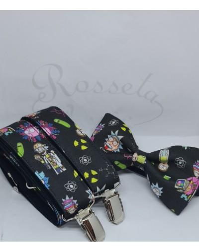 Conjunto de pajarita y tirantes Mickey en azul
