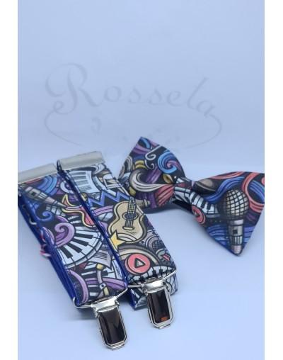 Conjunto de pajarita y tirantes cachemir amarillo